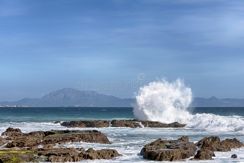 Beautiful virgin beaches of Andalusia, valdevaqueros in the province of Cadiz. Views of the beaches of Tarifa on the southern coast of Spain, Andalusia royalty free stock photos