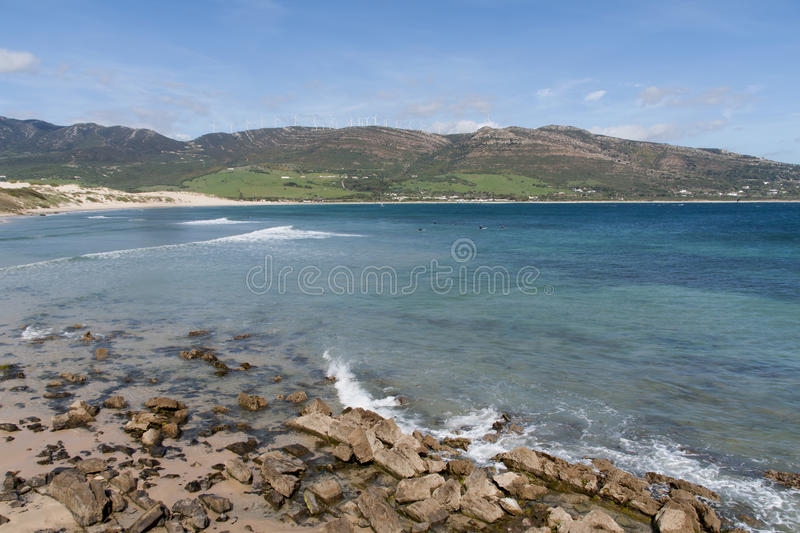 Beautiful virgin beaches of Andalusia, valdevaqueros in the province of Cadiz. Views of the beaches of Tarifa on the southern coast of Spain, Andalusia stock images