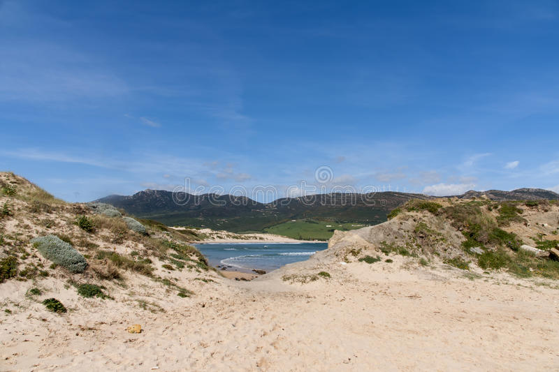 Beautiful virgin beaches of Andalusia, valdevaqueros in the province of Cadiz. Views of the beaches of Tarifa on the southern coast of Spain, Andalusia stock photos