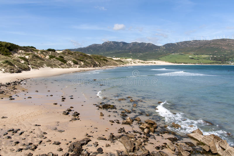 Beautiful virgin beaches of Andalusia, valdevaqueros in the province of Cadiz. Views of the beaches of Tarifa on the southern coast of Spain, Andalusia royalty free stock photo