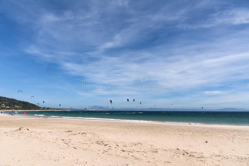 Beautiful virgin beaches of Andalusia, valdevaqueros in the province of Cadiz. Views of the beaches of Tarifa on the southern coast of Spain, Andalusia royalty free stock image