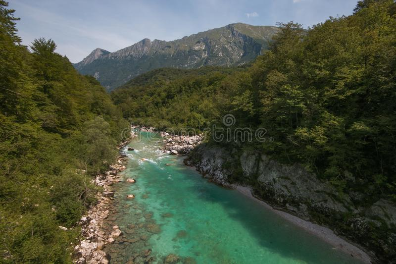 Beautiful vivid turquoise river stream rapids, running through canyon a forest. Soca river, Triglav National Park, Julian Alps, Sl royalty free stock images