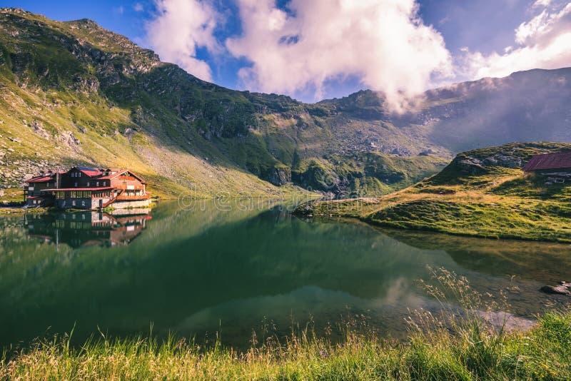 Beautiful volcanic Balea lake at high altitude, on Fagaras mount stock image