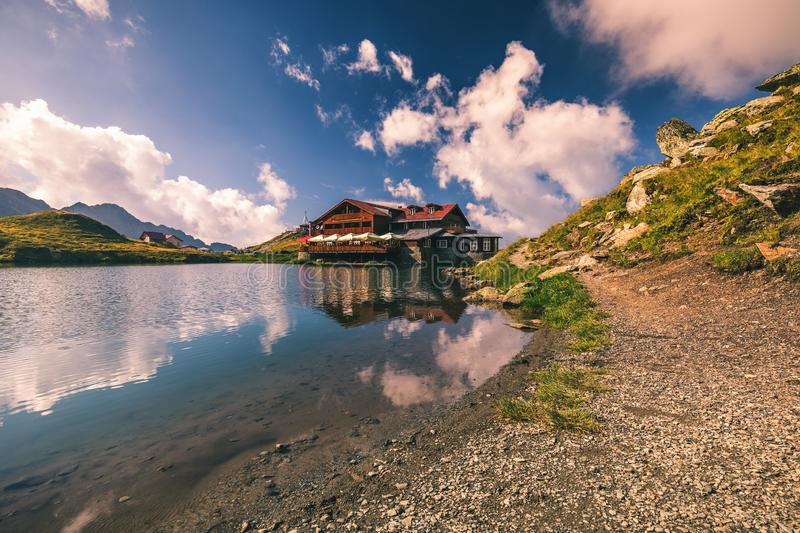 Beautiful volcanic Balea lake at high altitude, on Fagaras mountain, Romania stock images