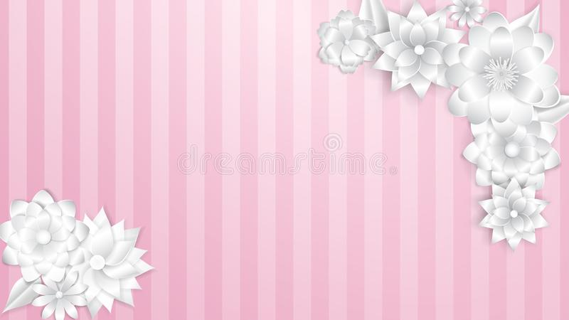 Paper flowers on pink background royalty free illustration