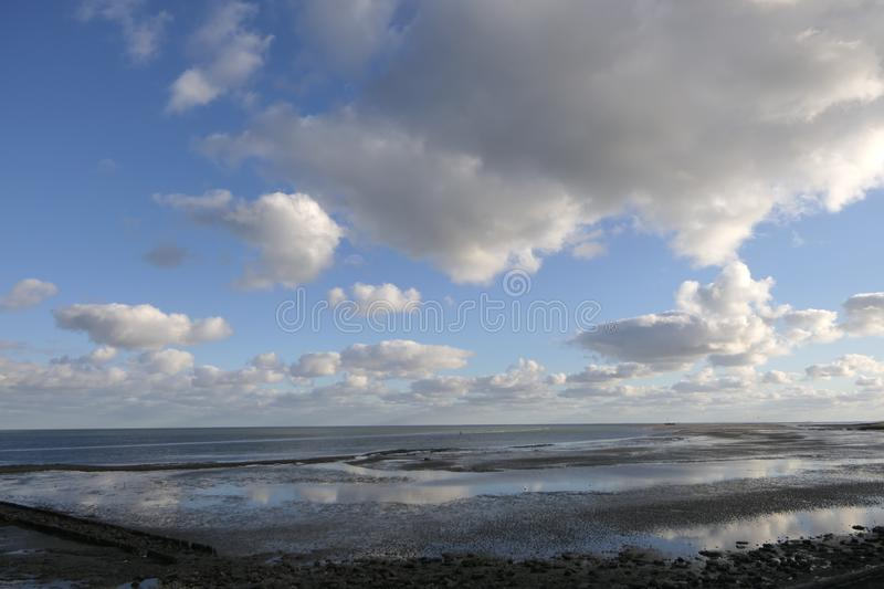 Beautiful Wadden Sea view from the dike of Vlieland royalty free stock photography