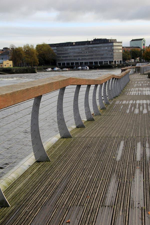 Beautiful walk along the Shannon River,Clancy Strand and O'Callaghan Strand city walk,Limerick,Ireland,2014 stock photo