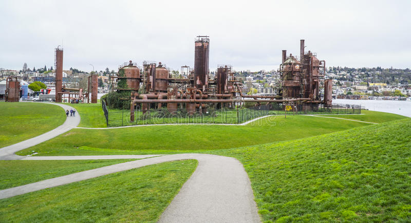 Beautiful walks at Gasworks Park in Seattle - SEATTLE / WASHINGTON - APRIL 11, 2017. Beautiful walks at Gasworks Park in Seattle royalty free stock photography