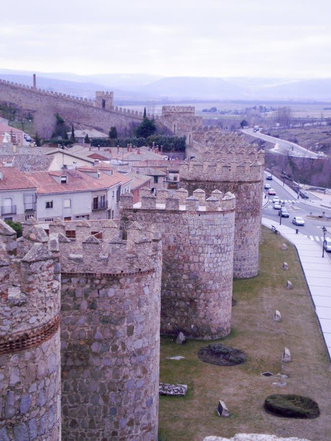Beautiful Wall Surrounding The Historic Medieval Town In Avila. February 12, 2010. Avila, Castilla Leon, Europe. Travel Tourism stock images
