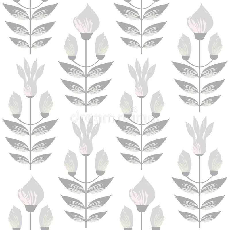 Beautiful warm grey and pastel flowers in minimal damask style design. Seamless vector pattern on subtl cream background stock illustration
