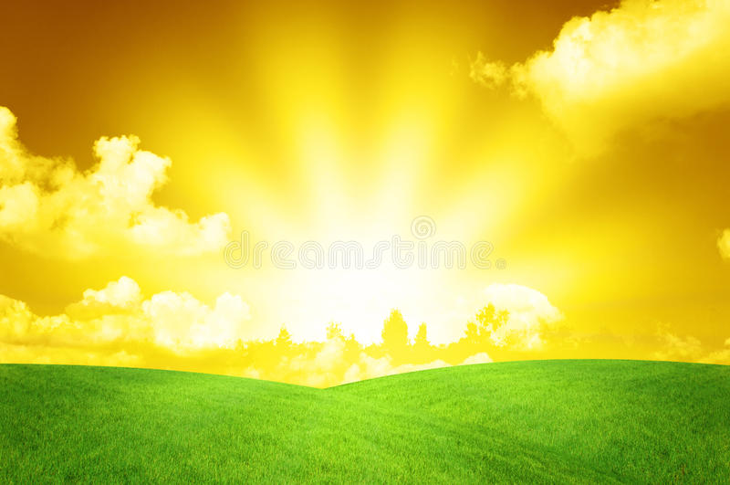 Beautiful Warm Sunset Landscape royalty free stock photos