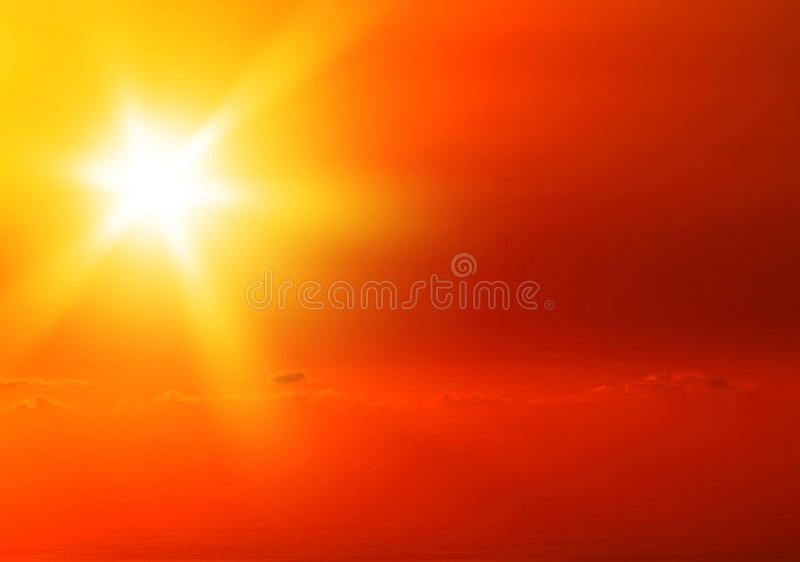 Beautiful warm yellow sunset royalty free stock photo