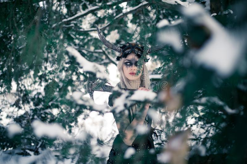 Beautiful warrior woman in image of viking with horned helmet and ax in winter snowy forest. Beautiful warrior woman in image of viking with horned helmet on her royalty free stock photography