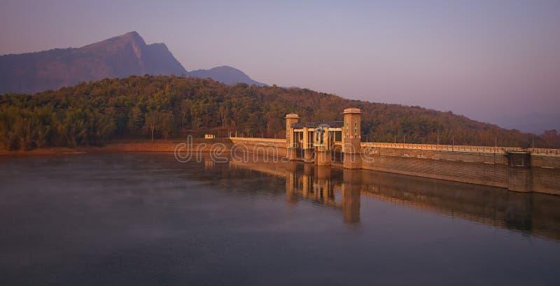 A beautiful water dam in Parambikulam India Kerala at dawn royalty free stock photos