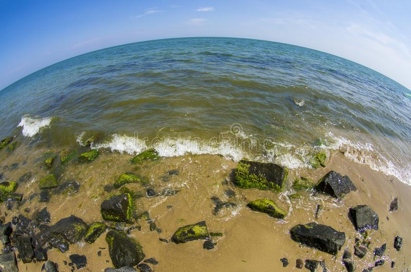 Sea landscape. Fisheye lens stock photography