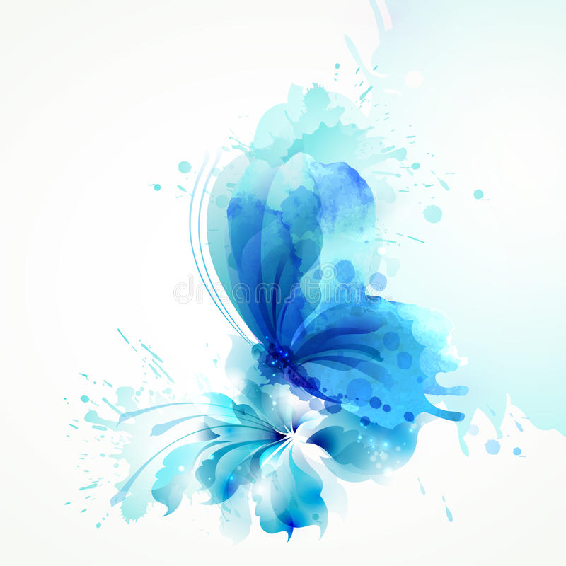 Beautiful watercolor abstract translucent butterfly on the blue flower on the white background. stock illustration