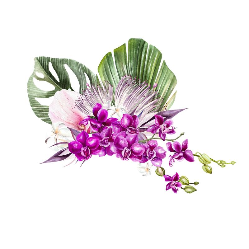 A beautiful watercolor bouquet with leaves of a palm tree, flowers or orchids. stock photos