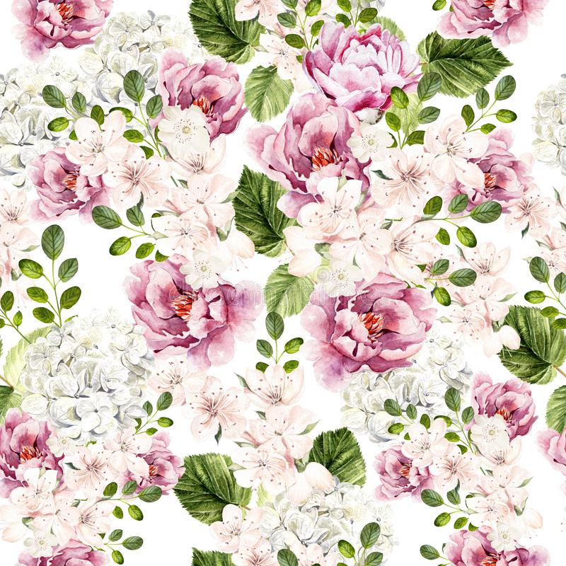Beautiful watercolor bright pattern with peony, hudrangea and spring flowers. royalty free illustration