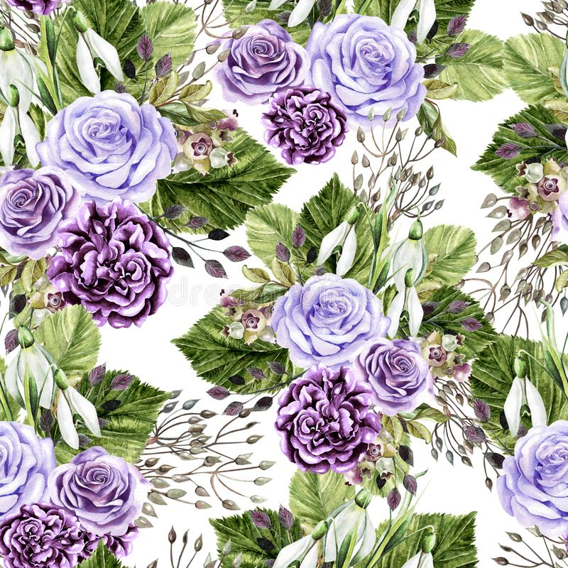 Beautiful watercolor bright pattern with roses and peony flowers. stock photo