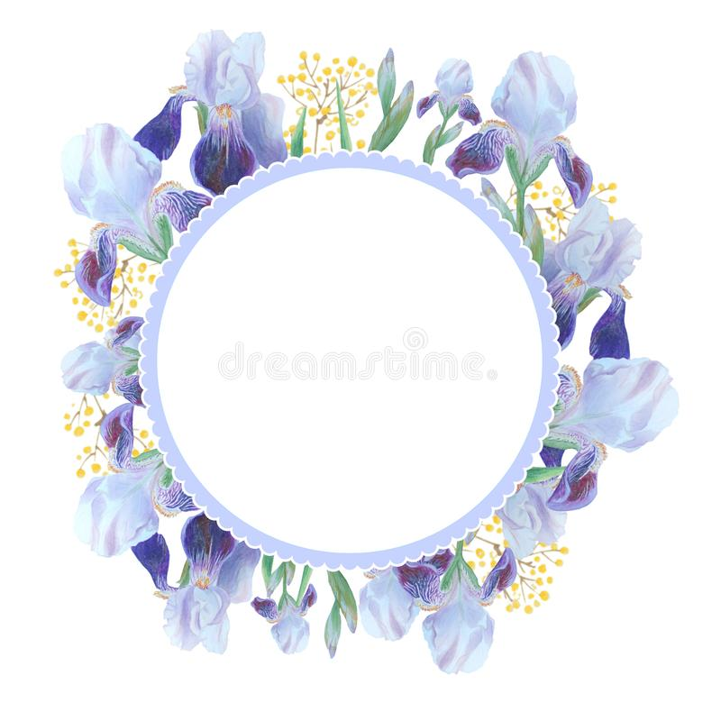 Beautiful watercolor card with blue Iris. Flowers isolated on white background. vector illustration