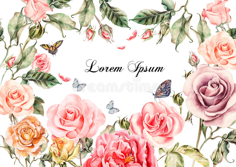 Beautiful watercolor card with peony flowers, roses. Butterflies and plants. vector illustration