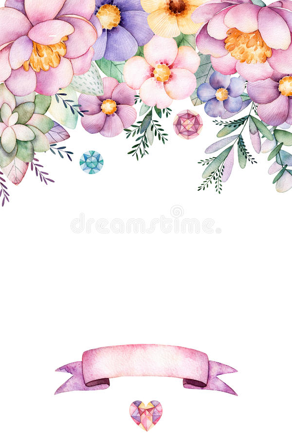 Free Beautiful Watercolor Card With Place For Text With Peony,flowers,foliage,succulent Plant,branch, And Ribbon. Royalty Free Stock Photos - 86121818