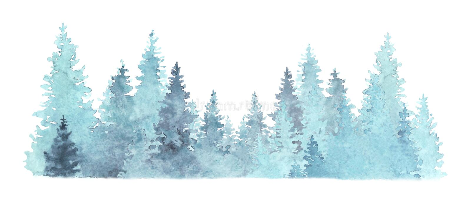 Beautiful watercolor coniferous forest illustration, Christmas fir trees, winter nature, holiday background, conifer, snow, outdoo stock illustration