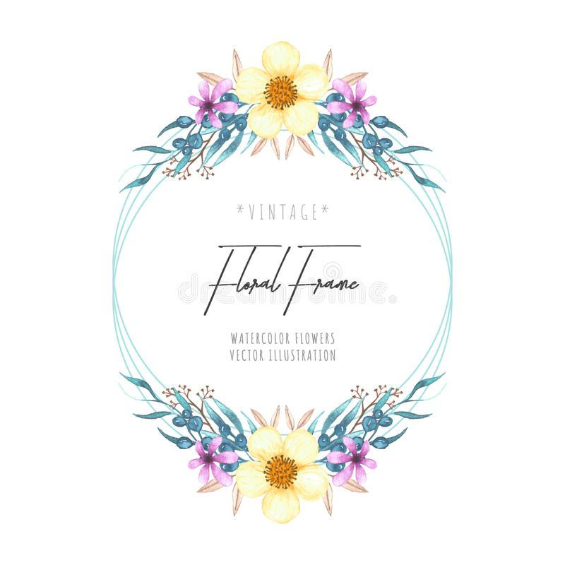 Beautiful watercolor floral frame leaves stock illustration