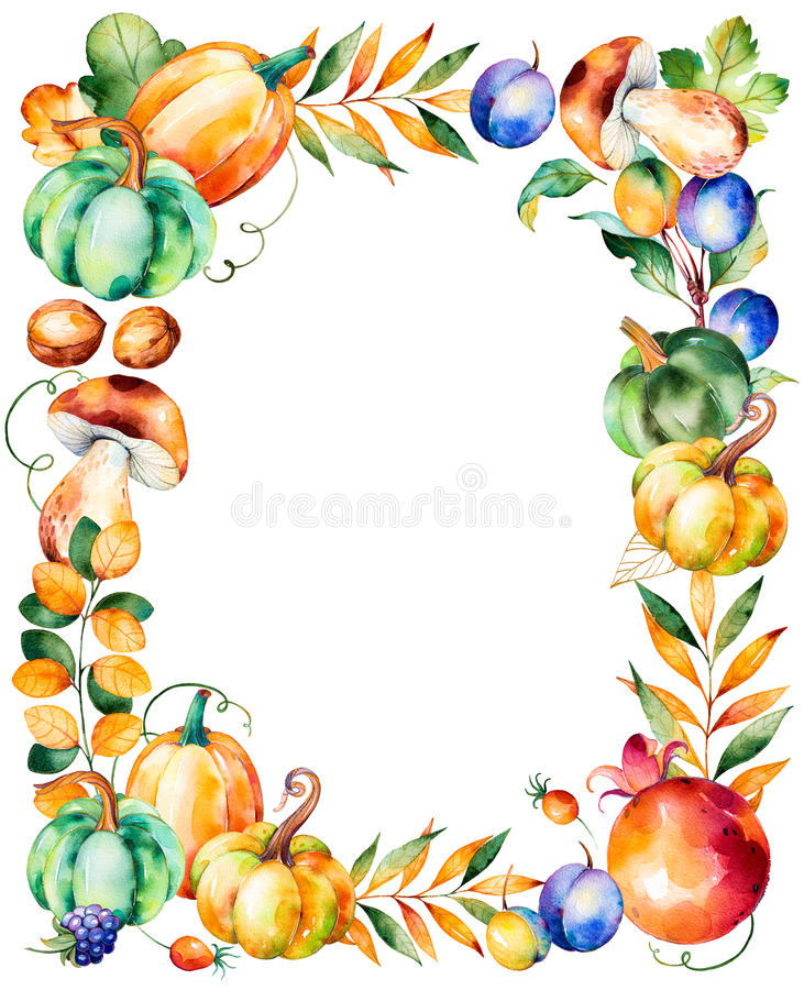 Beautiful watercolor frame border with with fall leaves. Branches,berry,blackberry,mushroom,pumpkins,walnut,pomegranate,prunes and more.Autumn harvest frame royalty free illustration