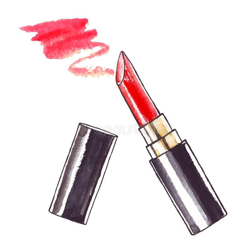 Beautiful Watercolor Lipstick. Beautiful Lipstick. Hand drawn watercolor vector. Beauty illustration royalty free illustration