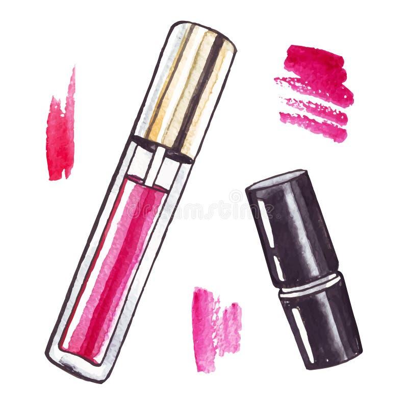 Beautiful Watercolor Lipstick. Beautiful Lipstick. Hand drawn watercolor vector. Beauty illustration vector illustration