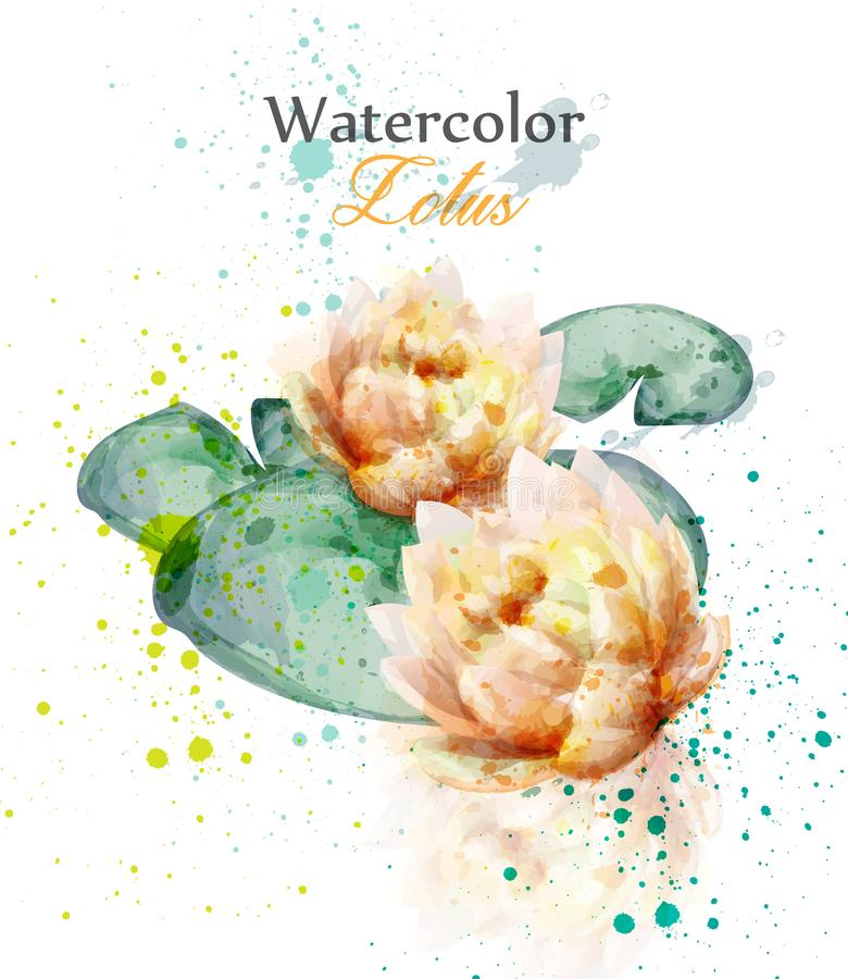 Beautiful watercolor lotus flower Vector. Delicate floral decor. Ation royalty free illustration