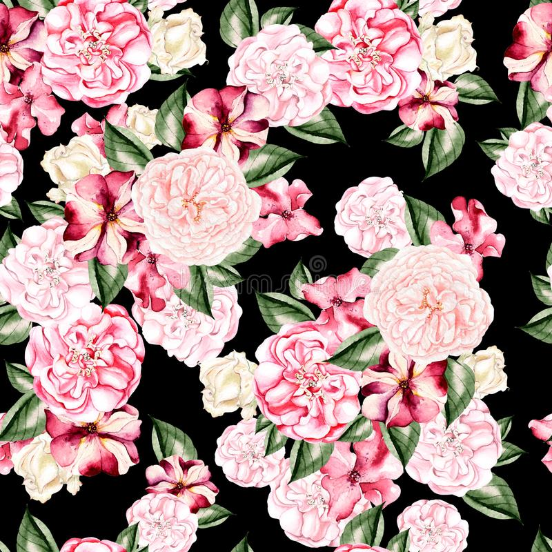 Beautiful watercolor pattern with flowers rose, peony and petunia flowers. stock photo