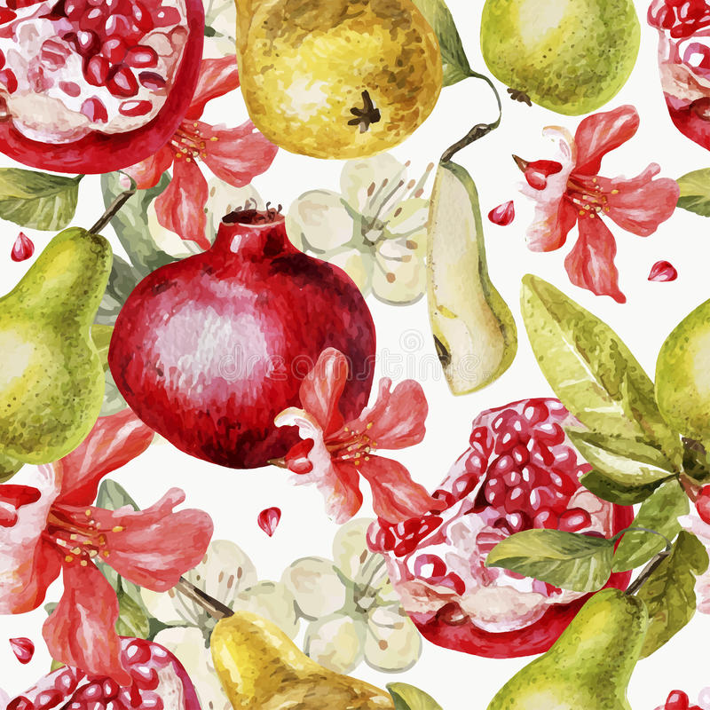 Beautiful watercolor pattern with fruits and vector illustration