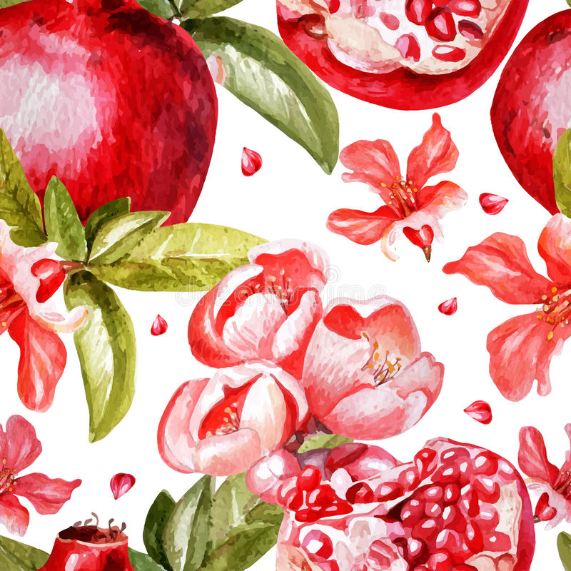 Beautiful watercolor pattern with fruits and stock illustration