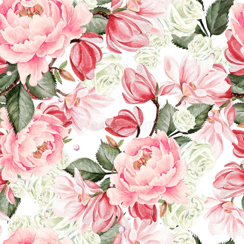 Beautiful watercolor pattern with roses, peony and magnolia flowers royalty free illustration