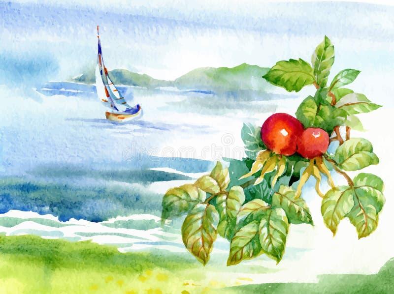 Beautiful watercolor river landscape. royalty free illustration