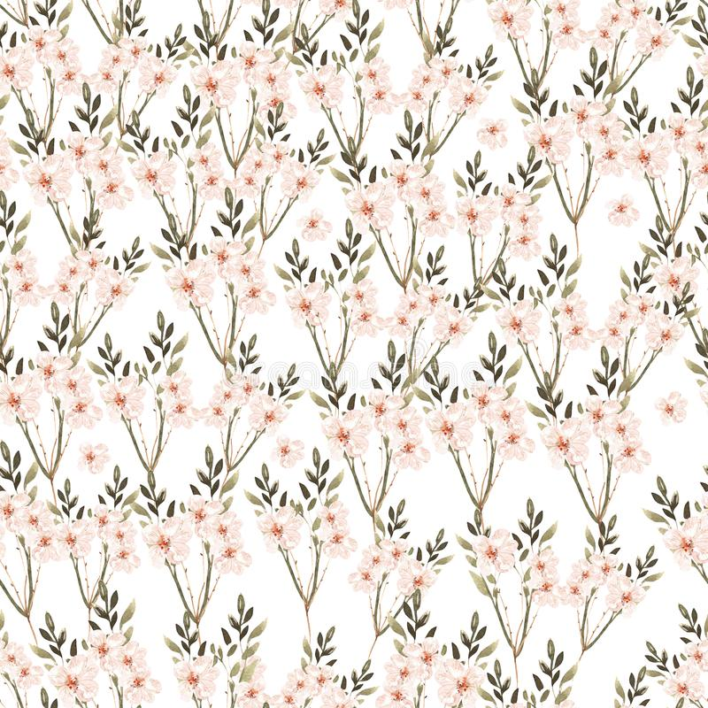 Beautiful Watercolor seamless pattern with roses flowers and herbs. royalty free illustration