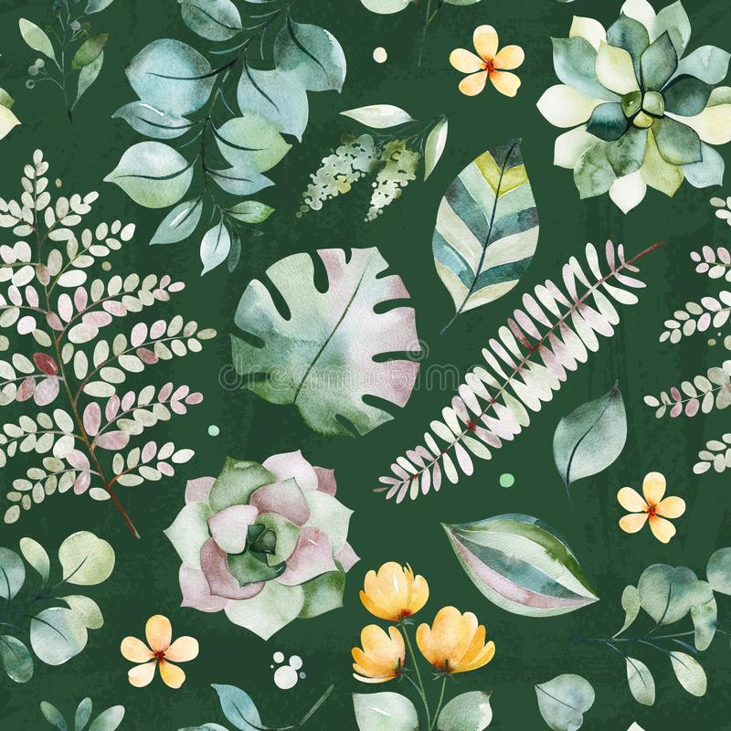 Beautiful Watercolor Seamless pattern with succulent plants,palm and fern leaves,branches,flowers royalty free illustration
