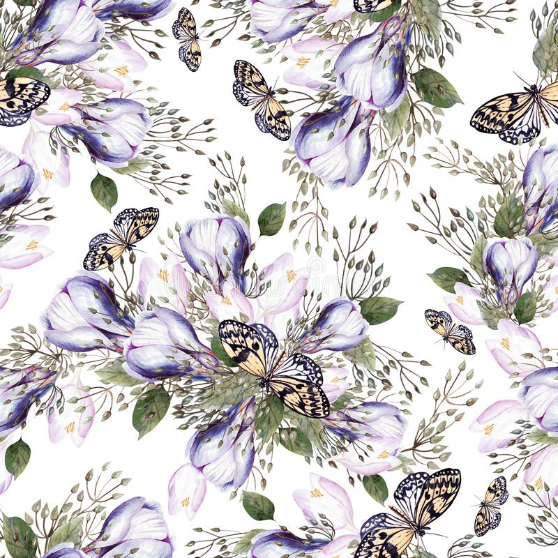 Beautiful watercolor seamless wedding pattern with eucaluptys, crocus and butterfly. Illustration royalty free stock photo
