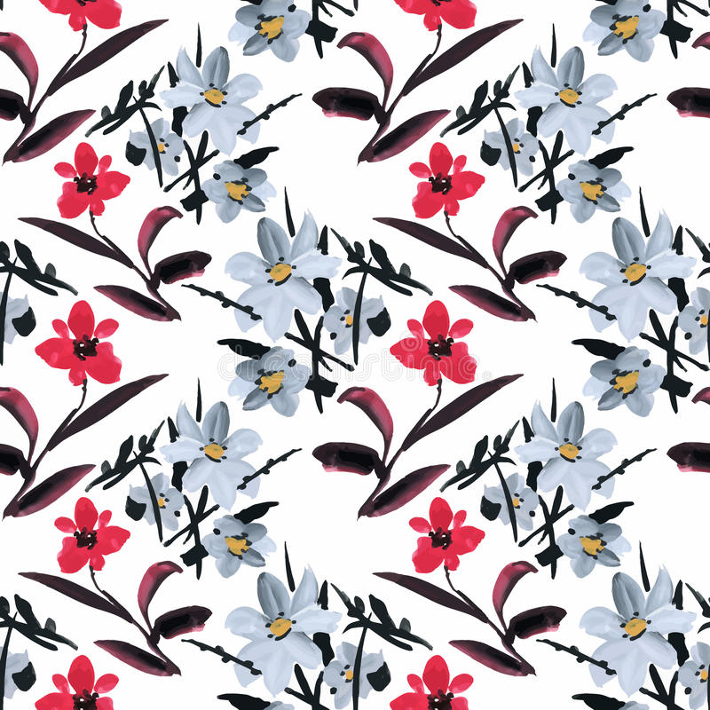 Beautiful Watercolor Summer Garden Blooming Flowers Seamless Pattern vector illustration