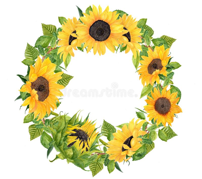 Watercolor hand painted Sunflower wreath stock photos
