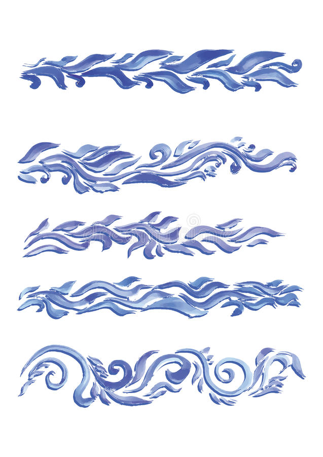 Beautiful watercolor swirls of different styles and sizes