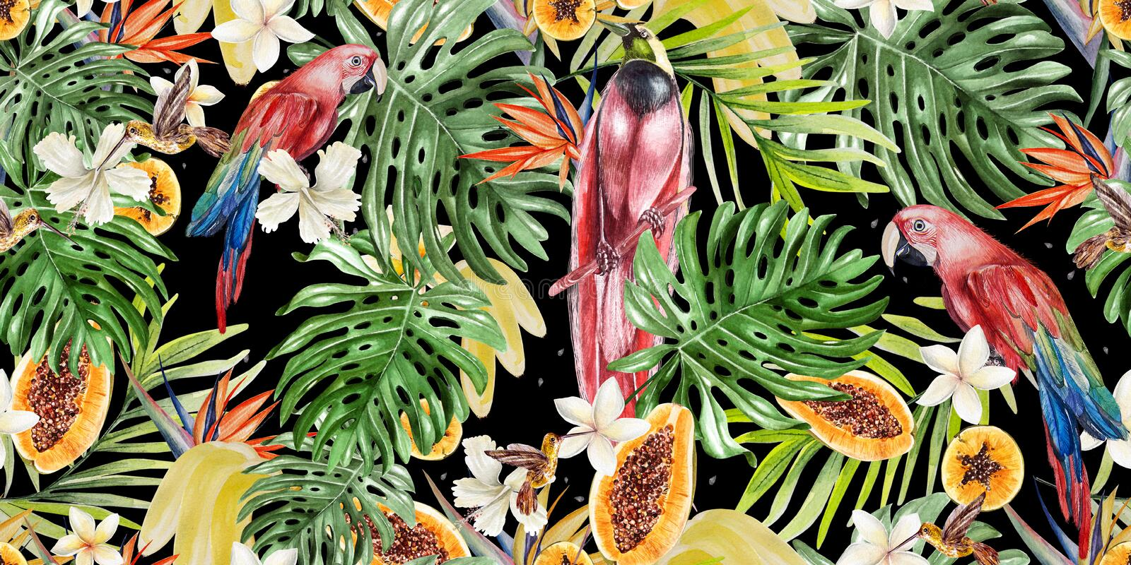 Beautiful watercolor tropical pattern with parrots and flowers of hibiscus and strelitzia. Tropical fruits papaya and bananas. Illustration stock illustration