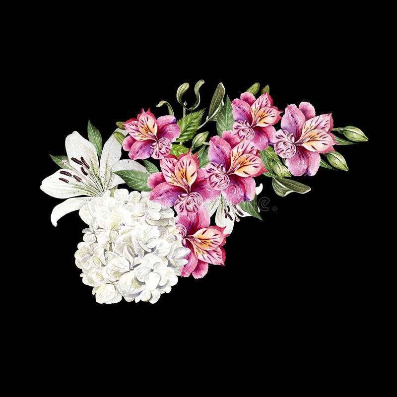 Beautiful watercolor wedding bouquet with leaves and flowers of lily, alstroemeria and hudrangea. royalty free stock image