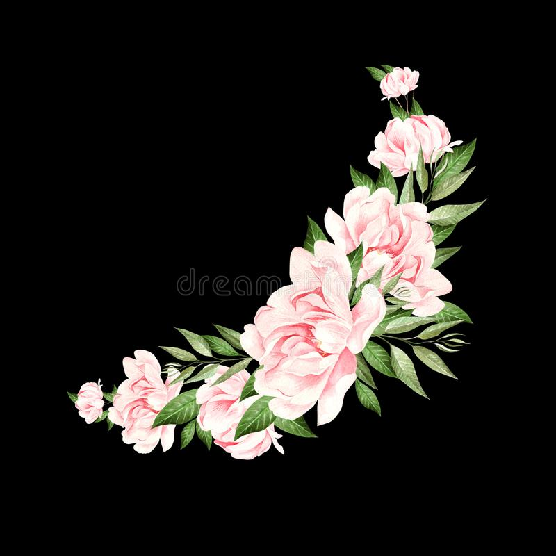 Beautiful watercolor wedding bouquet with peony and eucalyptus vector illustration