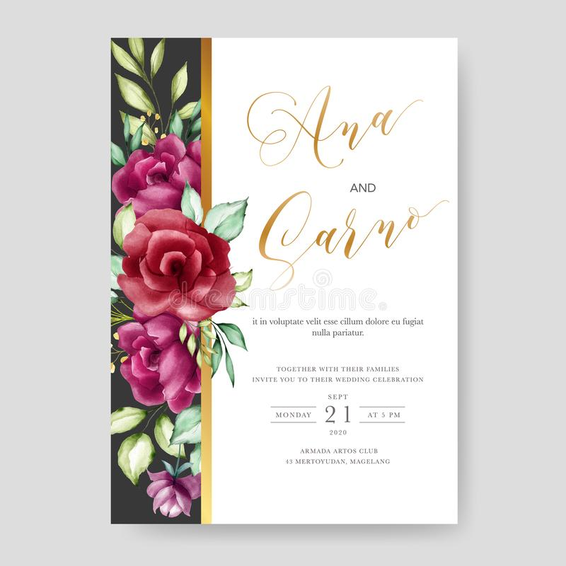 Beautiful watercolor wedding card template stock images