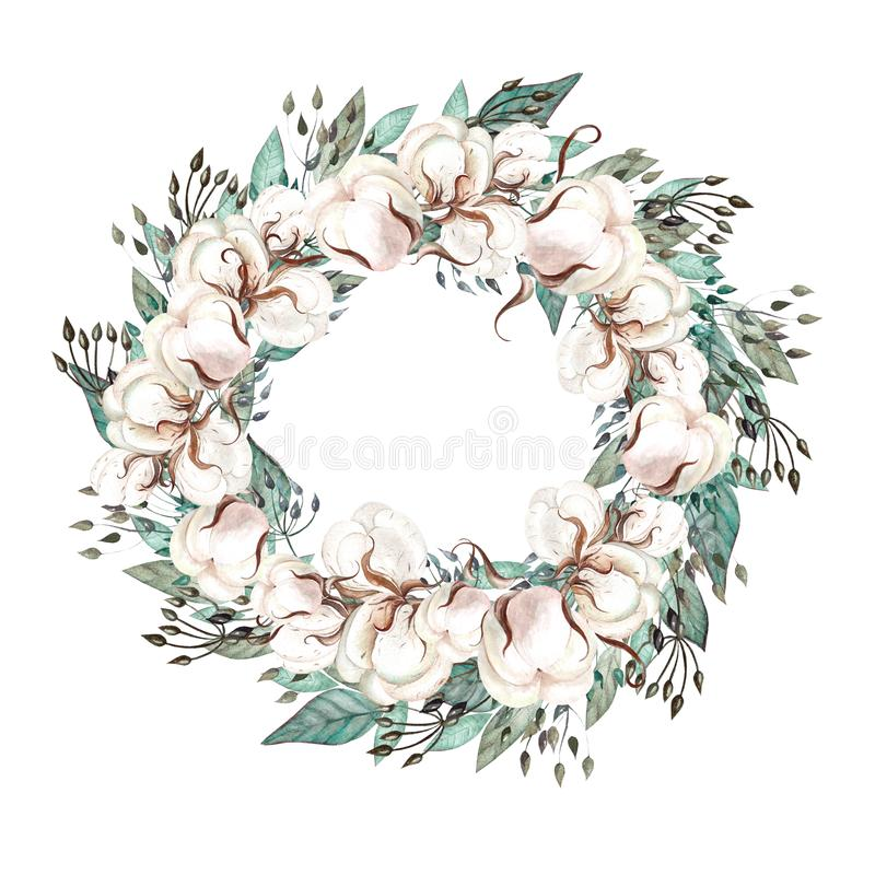 Beautiful watercolor wedding wreath with eucalyptus, cotton and leaves. stock photos