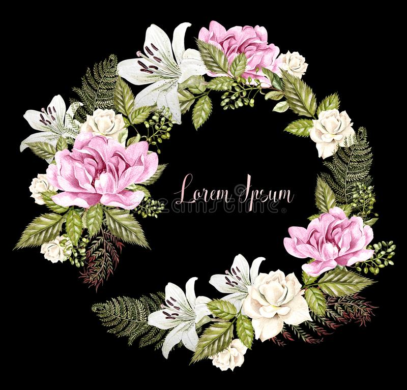 Beautiful Watercolor Wedding Wreath with roses, lily and peony flowers. Illustration vector illustration