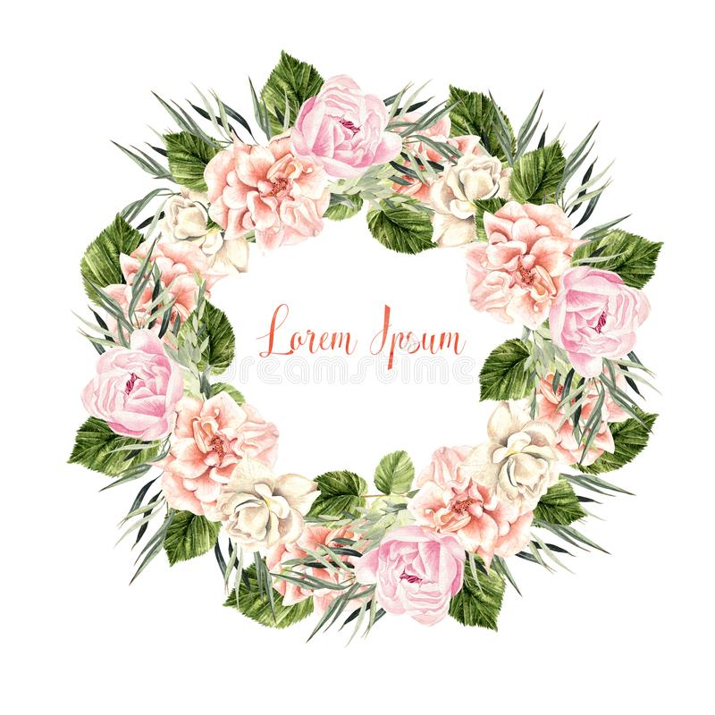 Beautiful Watercolor Wedding Wreath with roses and peony. Illustration stock illustration